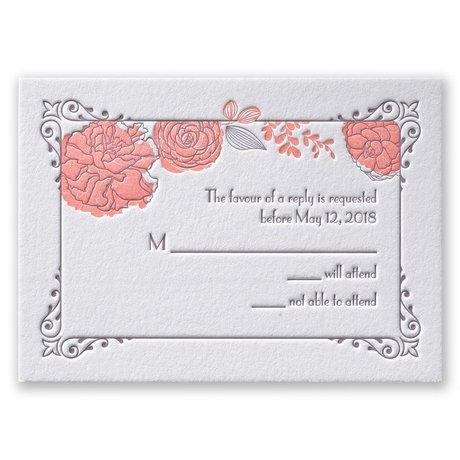 Rose Garden Letterpress Response Card