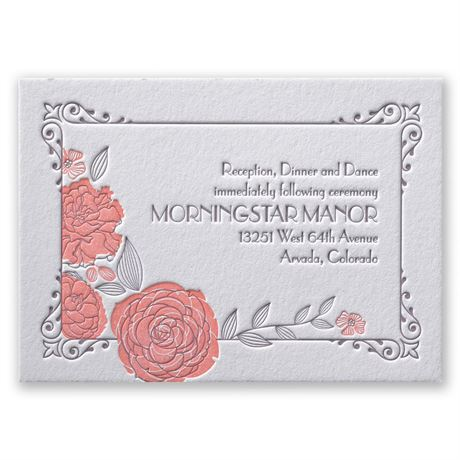 Rose Garden Letterpress Reception Card
