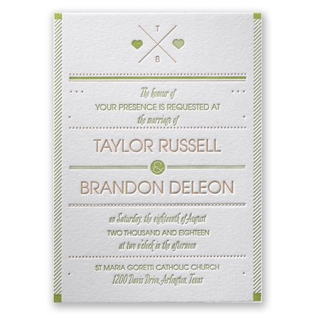 Two Hearts - Letterpress Invitation