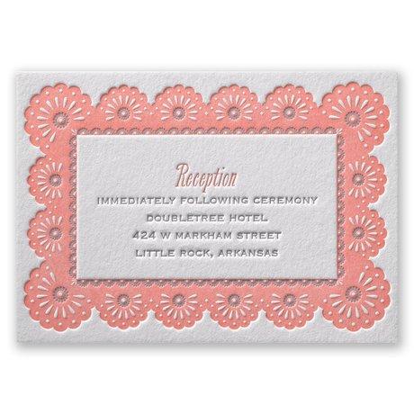 Lace Border Letterpress Reception Card