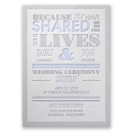 Lives Shared Letterpress Invitation