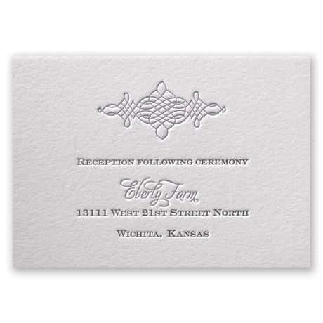 Timeless Elegance Letterpress Reception Card