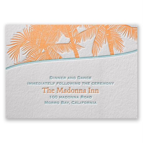 Tropical Escape Letterpress Reception Card