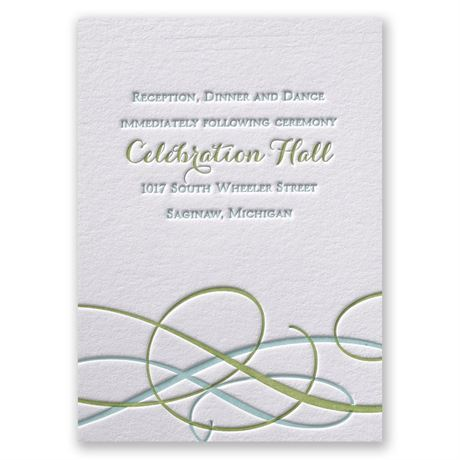 Sweet Swirls Letterpress Reception Card