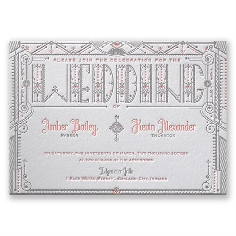 Wedding Details Letterpress Invitation