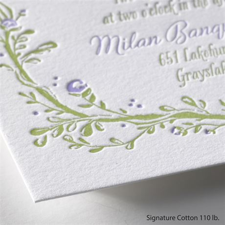 Flowers and Vines - Letterpress Invitation