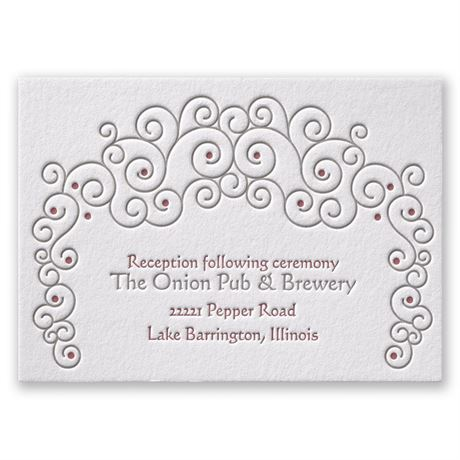 Soft Swirls Letterpress Reception Card