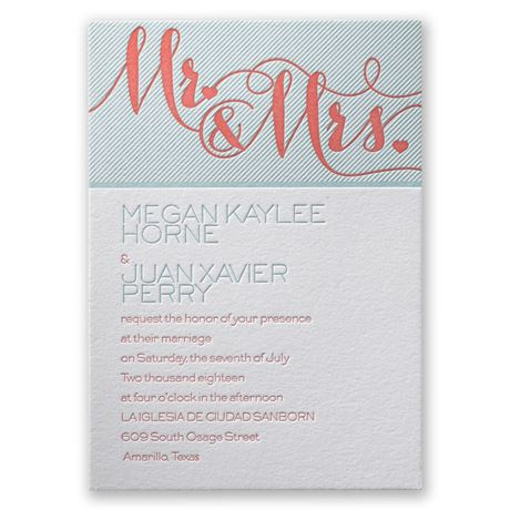 Hearts and Stripes Letterpress Invitation