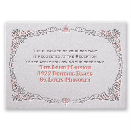 Lavish Layers Letterpress Reception Card