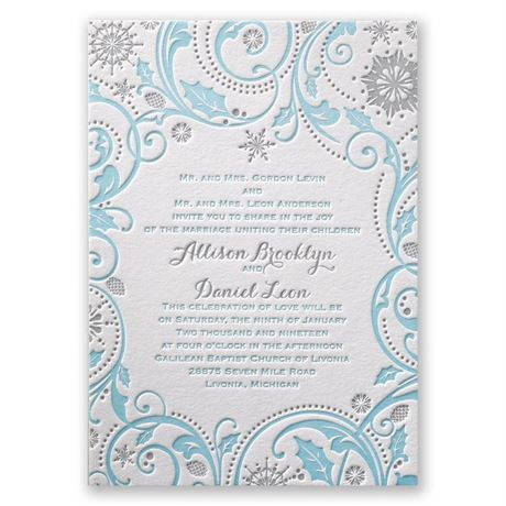 Winter Whimsy Letterpress Invitation