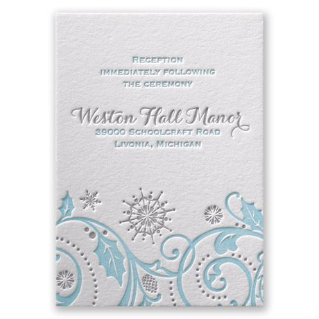 Winter Whimsy Letterpress Reception Card