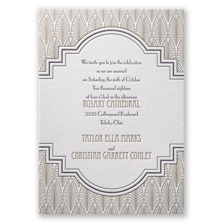 Art Deco Frame Letterpress Invitation