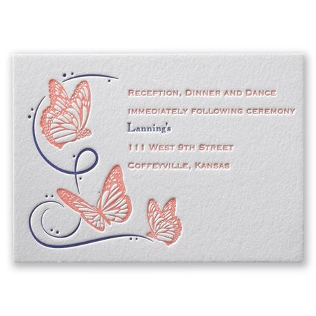 Butterfly Breeze Letterpress Reception Card