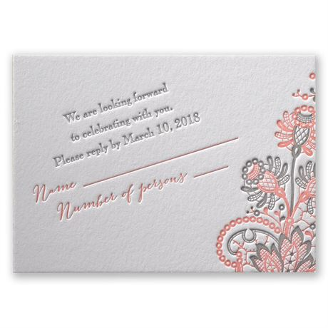 Love and Lace Letterpress Response Card