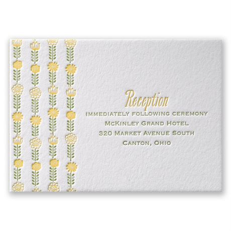 Floral Garland Letterpress Reception Card