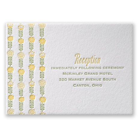 Floral Garland Letterpress Reception Card