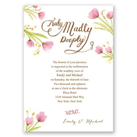 Truly, Madly - Vow Renewal Invitation