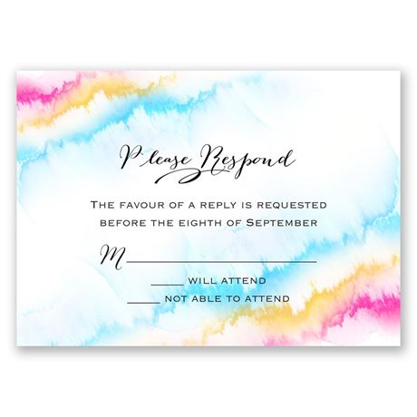 Watercolor Rainbow Response Card