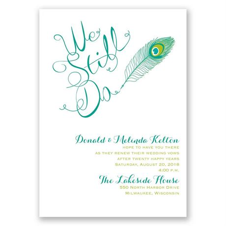 Peacock Calligraphy Vow Renewal Invitation