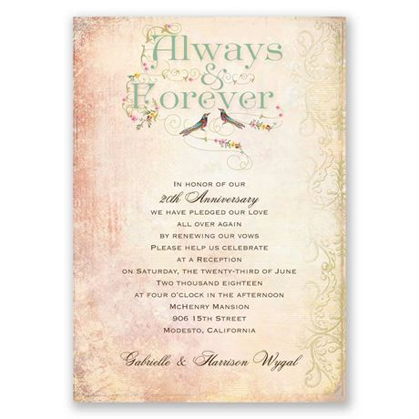 Always and forever vow renewal invitation invitations by for Free printable wedding vow renewal invitations
