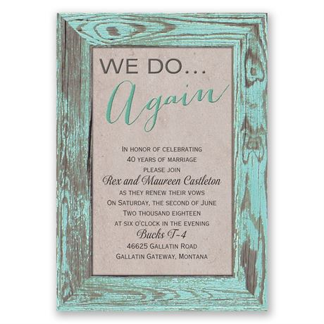 Tried and True - Aqua - Vow Renewal Invitation