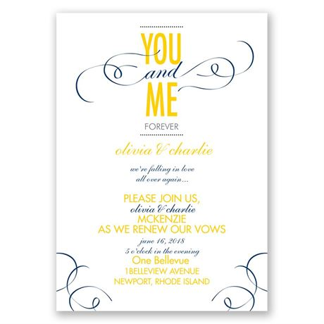 You and Me - Vow Renewal Invitation