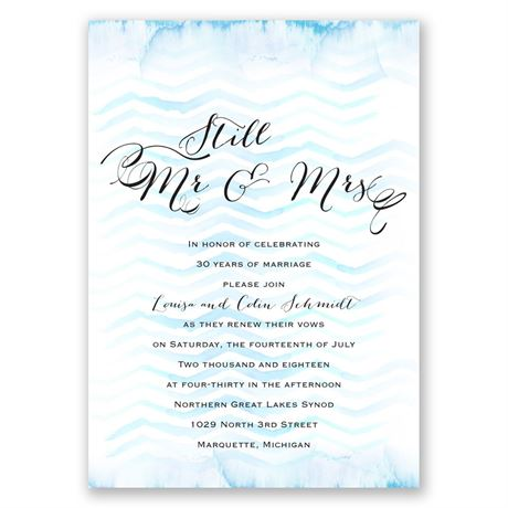 Watercolor Chevron - Malibu - Vow Renewal Invitation