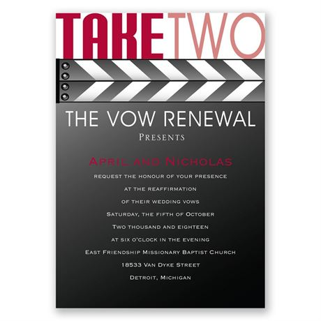 Take Two - Vow Renewal Invitation