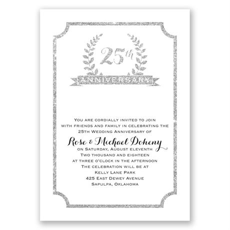 25th Crest Faux Glitter Anniversary Invitation
