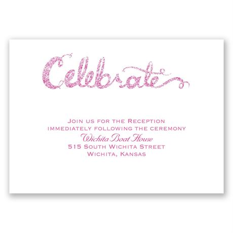 Love Sparkles - Fuchsia Faux Glitter - Reception Card