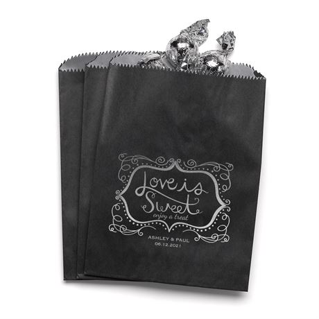 Love is Sweet - Black - Favor Bags