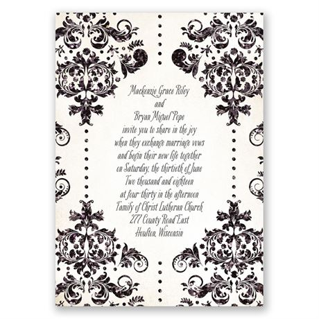 Brilliant Damask - Black Faux Glitter - Invitation