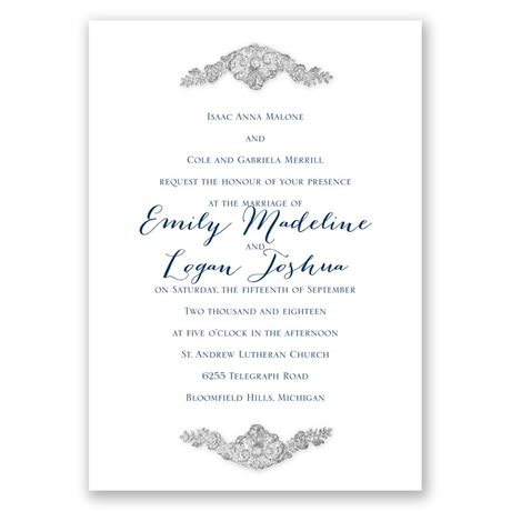 Shine Bright - Pewter Faux Glitter - Invitation
