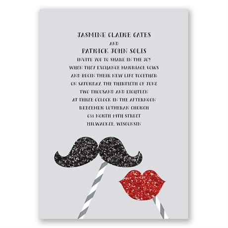 Mustache and Lips Faux Glitter Invitation
