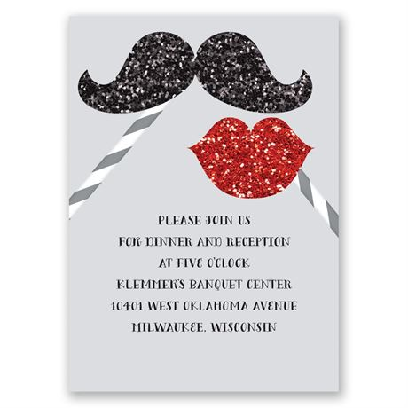 Mustache and Lips Faux Glitter Reception Card