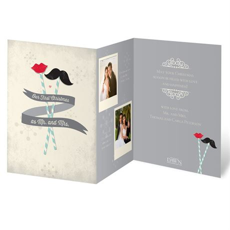 Mustache and Lips Photo Holiday Card