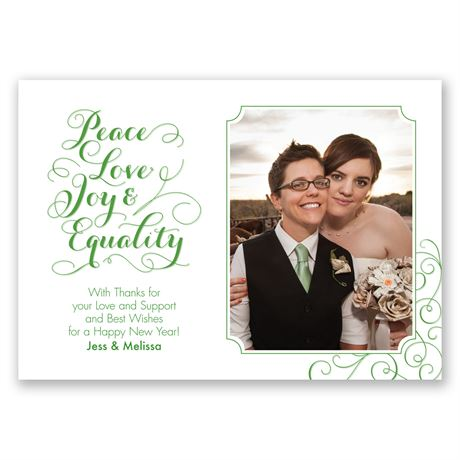 Peace, Love, Joy, Equality Photo Holiday Card