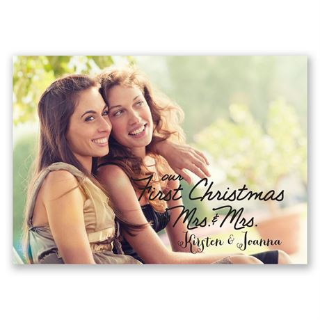 Stars and Snowflakes Mrs. and Mrs. Photo Holiday Card