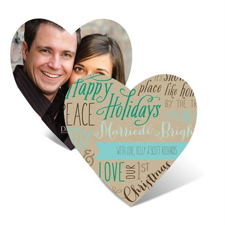Joyful Heart - Aqua - Photo Holiday Card