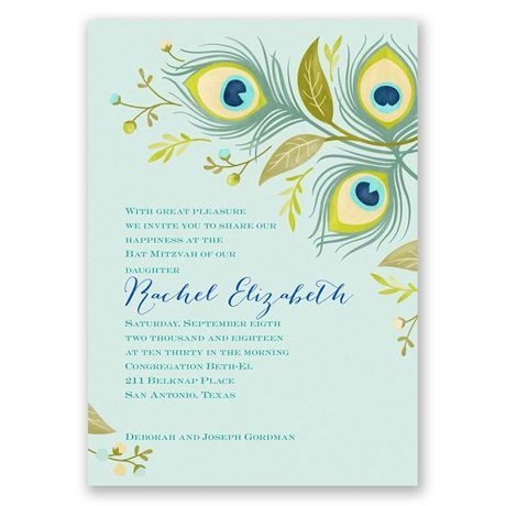 Pretty Peacock Mitzvah Invitation