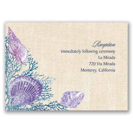 Shining Seashells - Navy - Real Glitter Reception Card