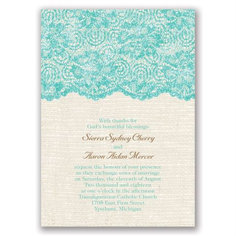 Luminous Lace Real Glitter Invitation