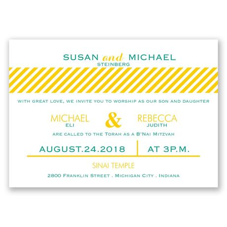 Candy Striped Mitzvah Invitation