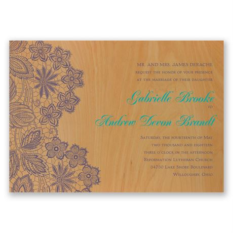 Floral Trim Real Wood Invitation
