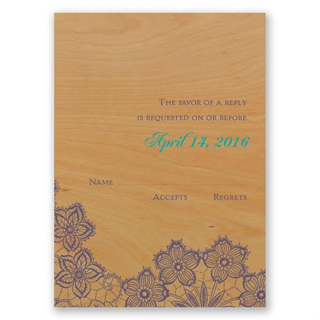 Floral Trim Real Wood Response Card
