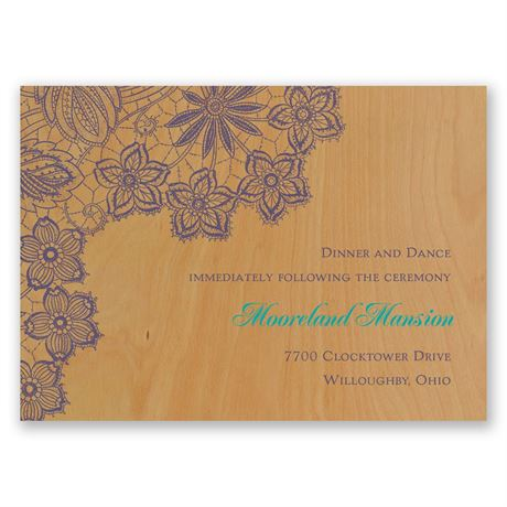 Floral Trim Real Wood Reception Card
