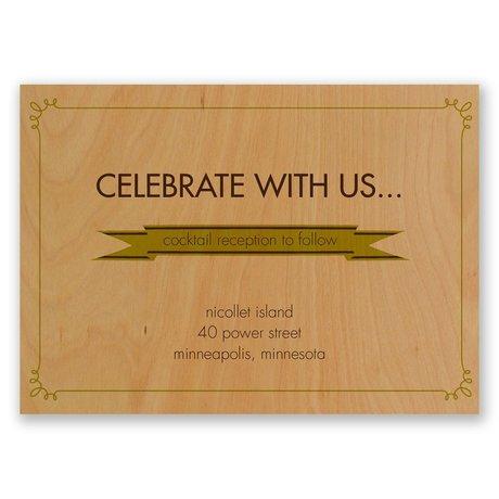 Ribbon Corners Real Wood Reception Card