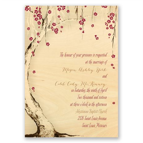 Tree Blossoms Real Wood Invitation