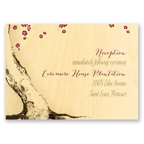 Tree Blossoms Real Wood Reception Card