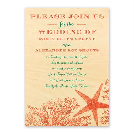 Coral Reef Real Wood Invitation